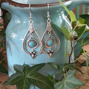 Faux Turquoise & Silver Boho Earrings